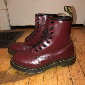 Red Dr. martens boots